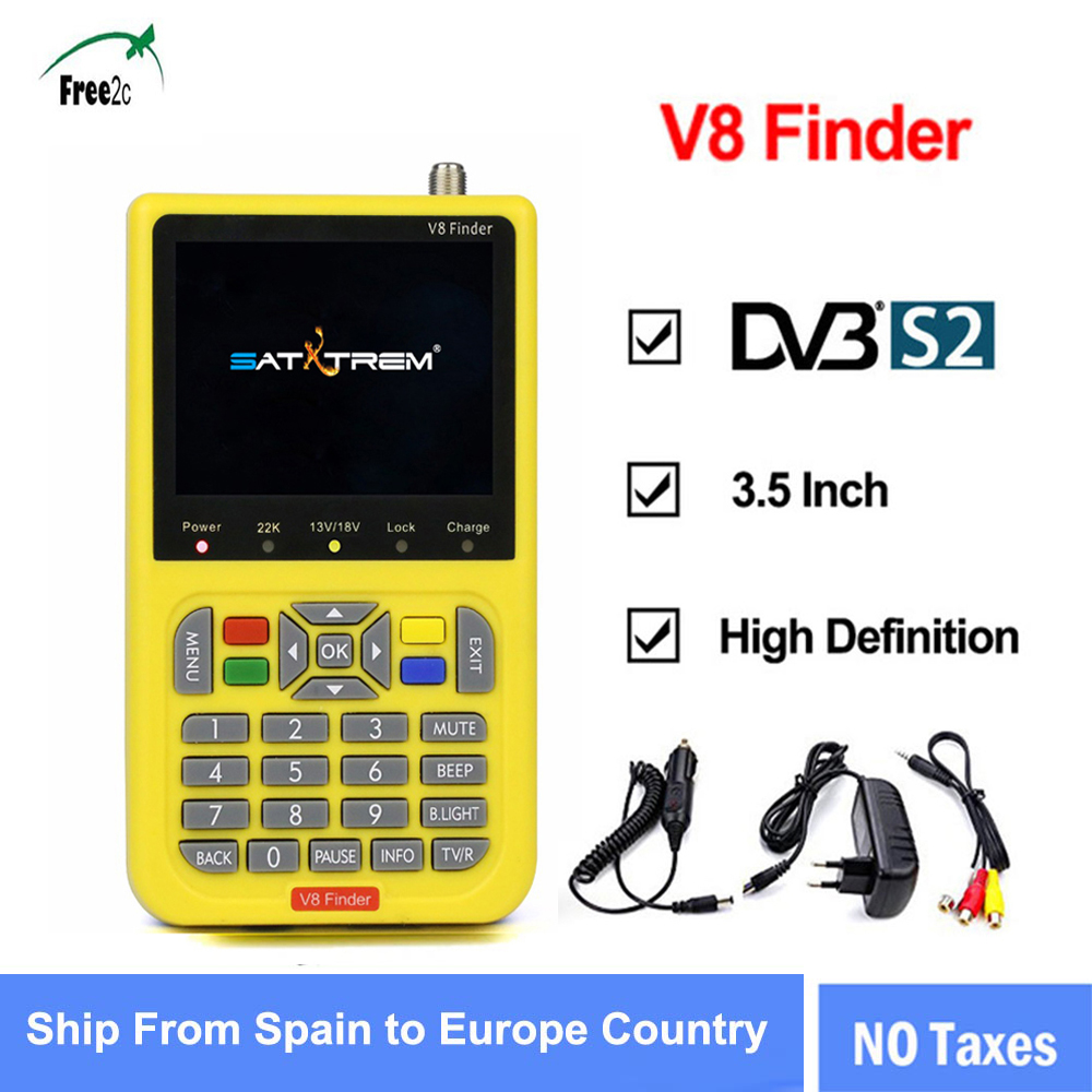 DVB-S2 V8 Finder HD Digital Satellite Finder W SatFinder MPEG2 MPEG4 with 3000mA Battery FTA Sat finder e lov women casual walking shoes graffiti aries horoscope canvas shoe low top flat oxford shoes for couples lovers