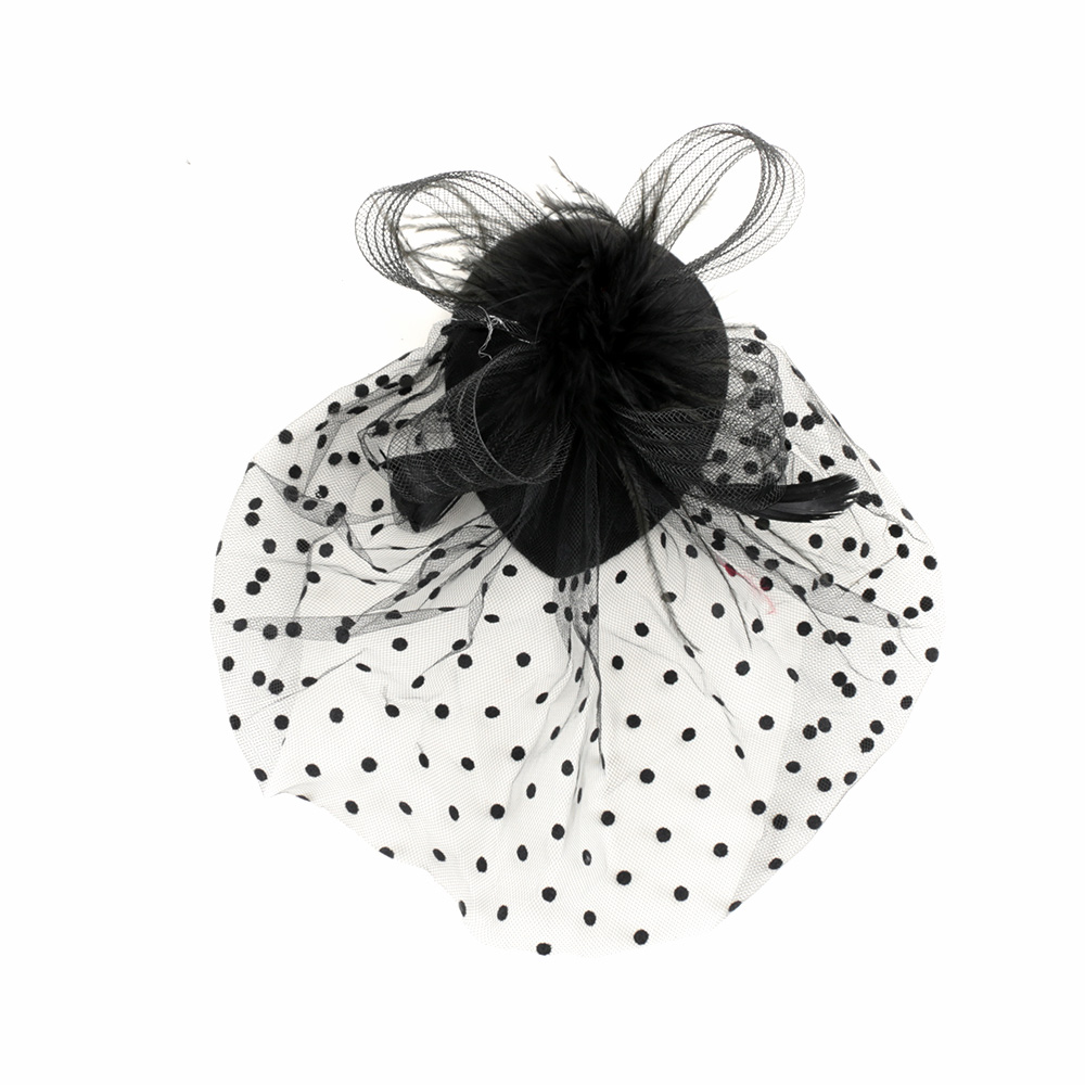 1 pc Hot Sale Lady Black Mesh Veil Feather Hairpin Cocktail Hat for Wedding Party Hair Clip