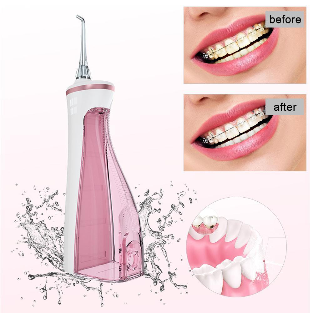 Nettoyeur de dents intelligent portatif d'irrigateur Oral de Flosser dentaire d'usb avec 4 astuces de Jet IPX7 imperméables pour la maison et le voyage