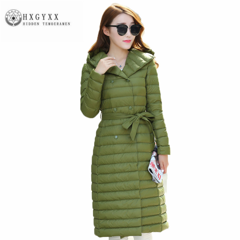 New Thin Winter Down jacket High quality Hooded Slim Women Outerwear Fashion simple pure color Big