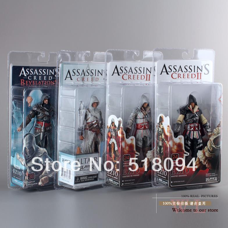 4pcs/lot Free Shipping NECA Assassin's Creed Ezio PVC Action Figure Collectible Model Toys Dolls Sets 7 18cm MVFG152 neca predator 2 pvc action figures toys collectible model dolls classic toy great gift 718cm with box free shipping