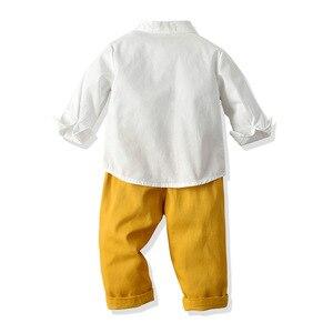 Image 4 - Ropa de niño pequeño, camisa blanca + Pantalones amarillos, traje para niño de 1 a 6 T, traje de otoño, conjunto de ropa infantil con lazo amarillo