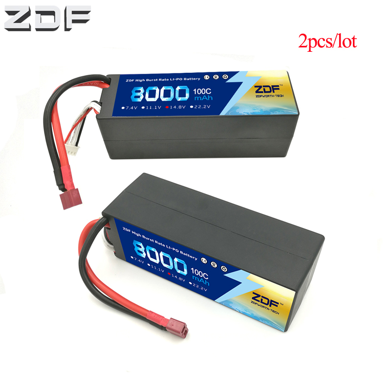 ZDF 2pc/lot <font><b>Lipo</b></font> RC Battery <font><b>4S</b></font> 14.8V <font><b>8000mAh</b></font> 100C Max 200C Hard Case for RC Car Truck Boat Helicopter Quadcopter image