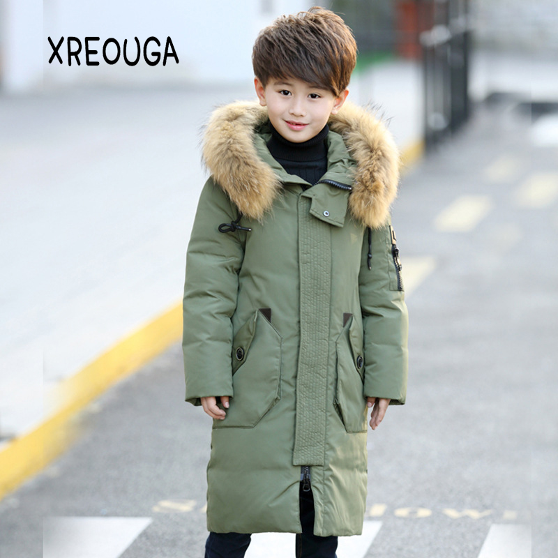 Russia Children Long Section Duck Down & Parkas Boys Down Jackets & Coats Kids Winter Fur Collar Outwear -30 Degree FJY01 duck down jacket for boys 2017 russia winter warm thick down parkas children casual fur hooded jackets coats 30 degrees