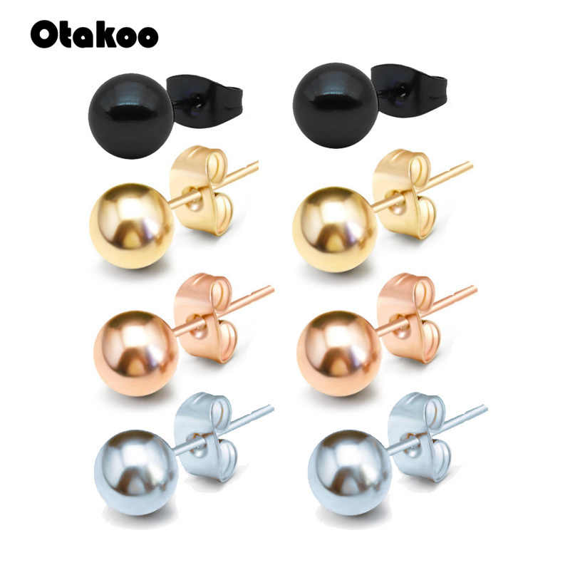 Otakoo 2PC Surgical Steel Silver,Black,Gold&Rose Gold Color Ball Stud Earrings Punk Ear Tragus Ear Piercing Fake Taper For Women