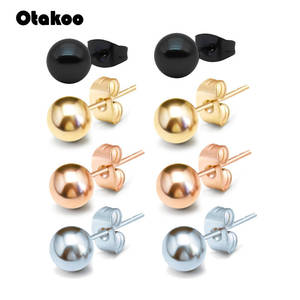 Otakoo 2PC Silver Rose Gold Color Stud Earrings For Women