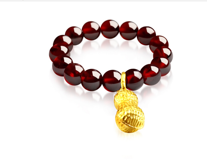 999 24K Yellow Gold Peanut Garnet Beads Elastic line Ring 0.85g999 24K Yellow Gold Peanut Garnet Beads Elastic line Ring 0.85g