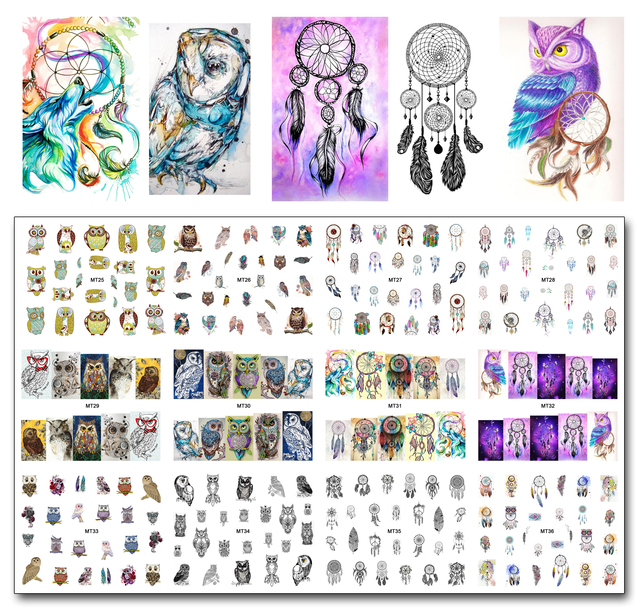 New 12 Sheets/Lot Nail MT25-36 Mix Owl Dream Catcher Nail Art Water Transfer Decal Sticker For Nail Art Tattoo (12 DESIGNS IN 1)