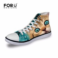 FORUDESIGNS Super Cute Kitty Cat Printing Women Canvas Shoes High Top Casual Shoes Woman Lace Up