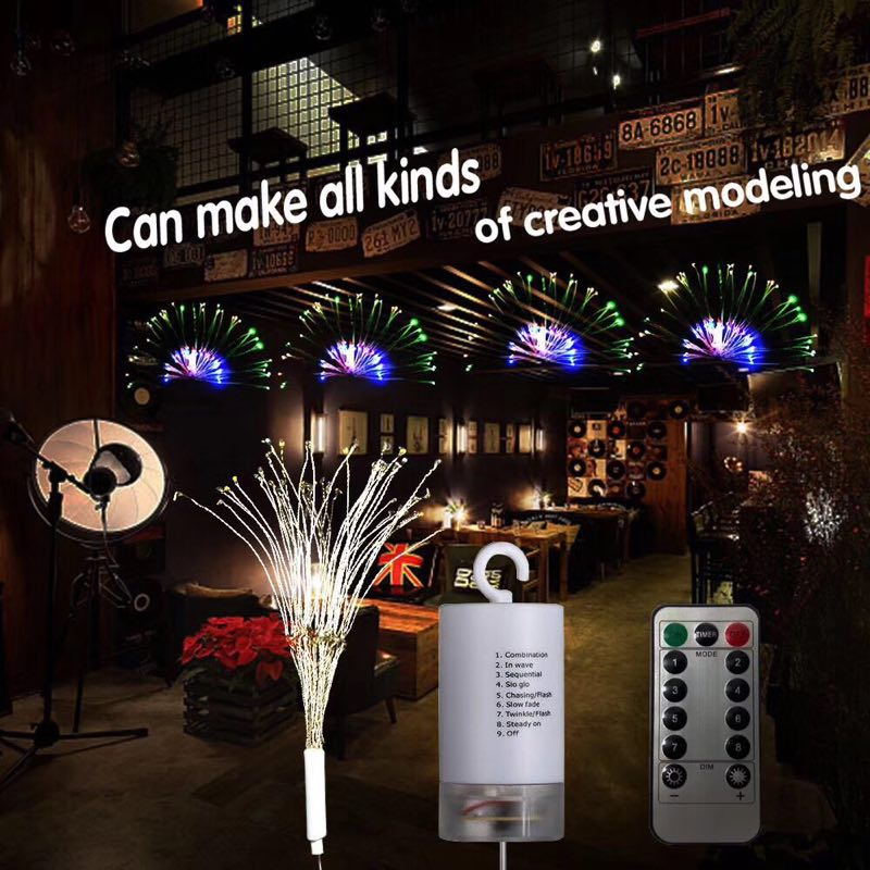 Garland DIY Fireworks Battery-operated Fairy Light Remote Control LED String Foldable Wedding Decoration For Christmas Outdoor