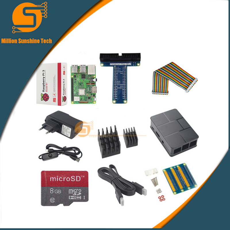 купить 10 in 1 Raspberry Pi 3B++ABS Case+8GB SD Card+GPIO Kit + Heat Sink+HDMI +5V 2.5A Power for raspberry pi module 3B+ по цене 4338.24 рублей