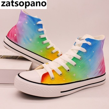 rainbow hand painted canvas shoes women autumn lace up high top sneakers breathable sneaker casual vulcanization personality