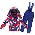 2016 inverno crianças snowsuit quente grossa à prova d' água à prova de vento respirável meninos meninas algodão neve casaco e calças macacões 2 pcs