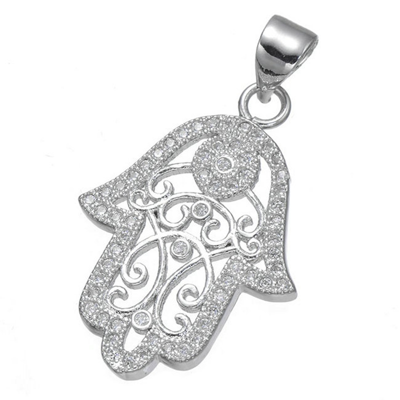 Colier Femme 2017 New Designer Jewelry Hamsa Good Luck Necklace Top Quality Copper With Colorful Zircon Stone Hamsa Hand Pendant Jewelry & Accessories