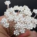 Moda 40 Pcs Simulado Pérola Flor Nupcial Do Casamento Cabelo Pinos Clipes Da Dama de Honra de Cristal Strass Hairwear Jóias Acessórios