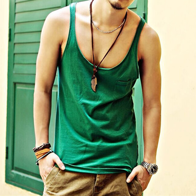 brand summer style fashion tank top men Undershirts loose cotton soft stretchable small pocket decoration hip hop men vest T632