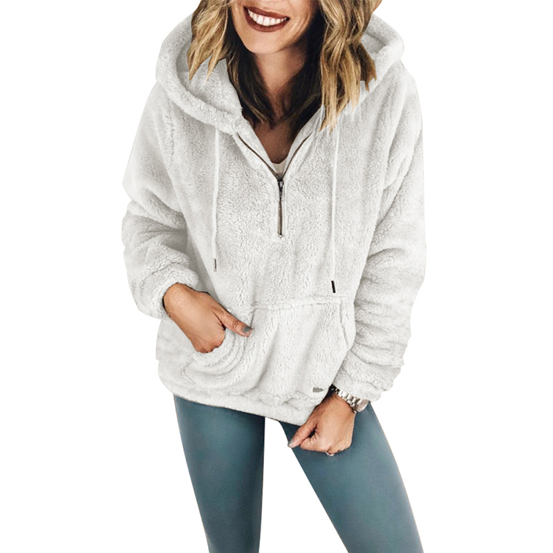 Hooded Sweatshirt 2018 Autumn Winter Women Casual Fleece Fuzzy Long Sleeve Zipper Hoodie Pockets Haaraju Hoodies Wool Sweatshirt