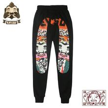 Evisu Embroidery High Quality Mens Wild Casual Pants Warm Breathable Trend Sports Black Trousers EV838