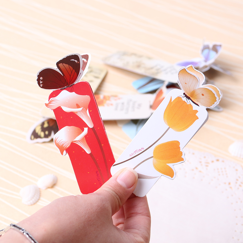 14 PCS Retro Chinese Style Butterfly Bookmark Creative Small Fresh Students Creative Butterfly Bookmarks Cartoon Book Marks Pap