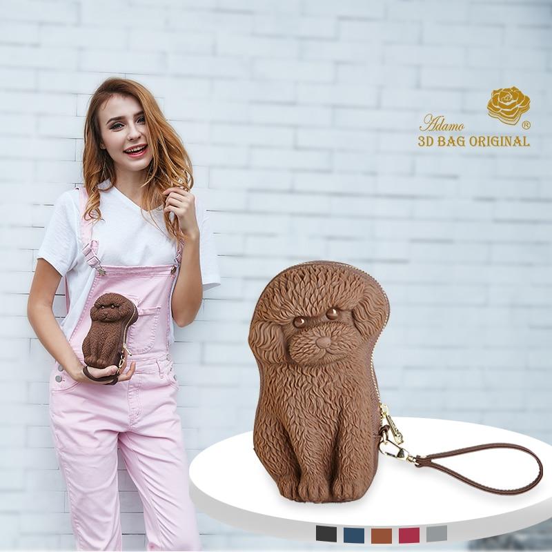 Adamo 3D sac Original QQ caniche embrayage avec sangle longue femmes portefeuille mode filles changer fermoir porte-monnaie monnaie porte-cartes