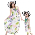 Mother daughter dresses flower casual summer kids Girls Dress Family Matching Outfits women girl holiday long vest dress