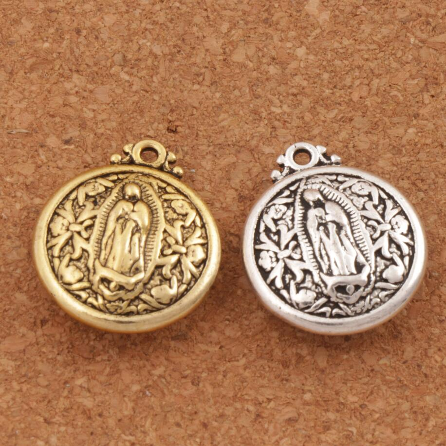 Virgin Mary Charm Beads 6pcs Antique Silver/gold Pendants Retro Accessories Party Gifts L1788 24x20.5mm