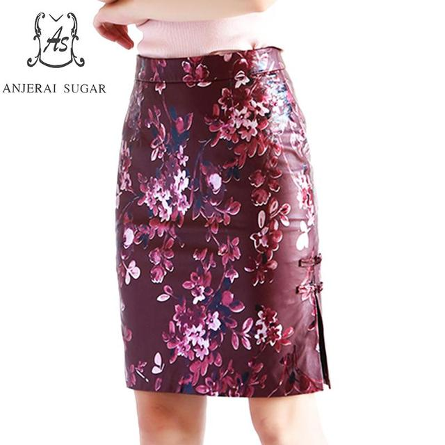 8c1eb8629af Genuine leather skirts women wine red printing Chinese style sexy slim  Package hip OL office real sheepskin female pencil skirt