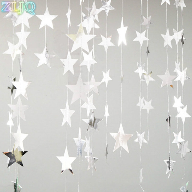 ZLJQ Mirror Star Hanging Ornaments Creative DIY Gold/Silver Valentine's Day Decoration For Home New Year Party Window Layout 6D