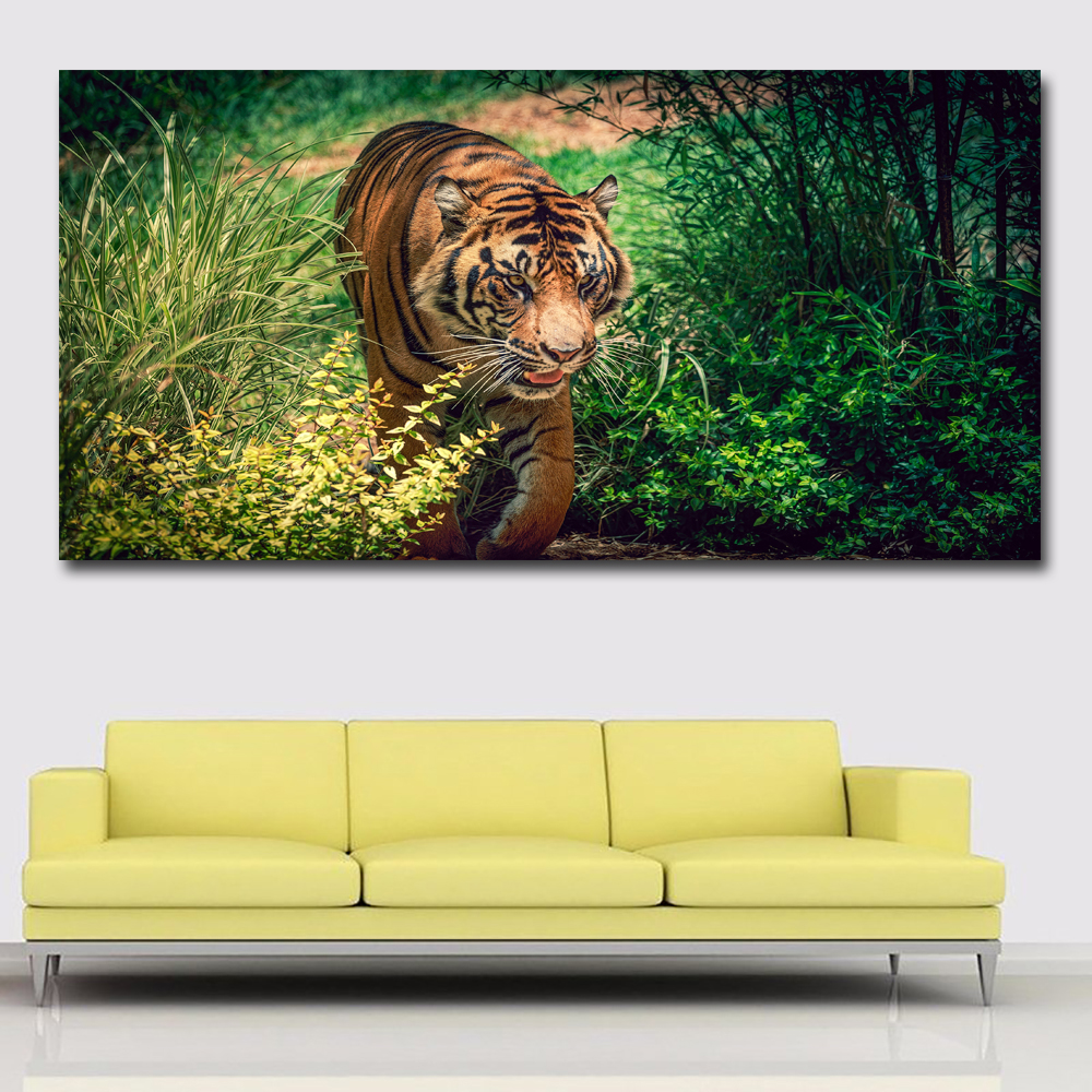 HD Prints Big Size Animal Painting Tigers In Grass Prints Posters ...