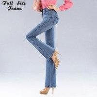 סתיו מכנסיים ג 'ינס בתוספת גודל גבוהה מותן אבוקה למתוח ג' ינס סקיני נשים אתחול ג 'ינס ירך רזה רגל רחב חתכים Xxs Xxxl 4Xl 5Xl 6Xl