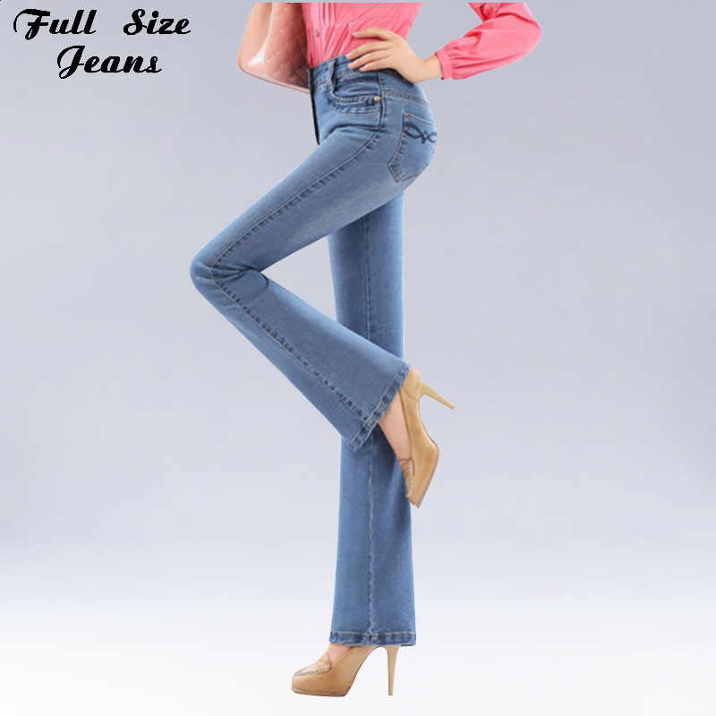 Autumn High Waist Flare Jeans Pants Pluss