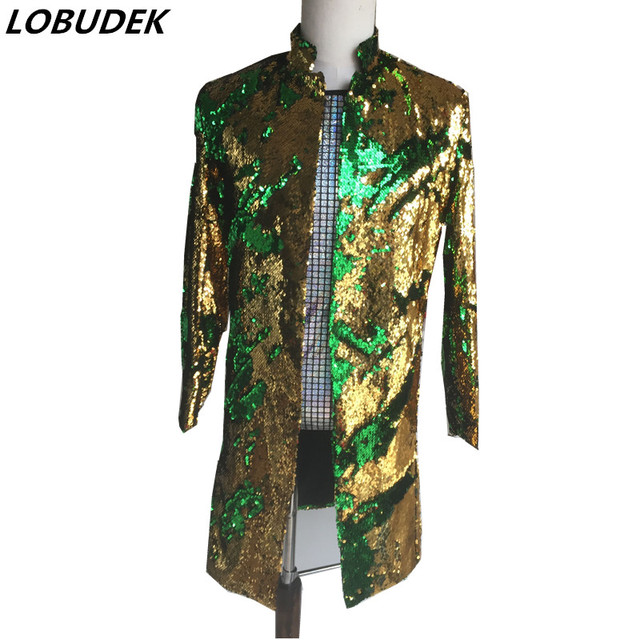 mermeid sequins long jacket coat blazer male gold green costumes prom wedding groom fashion outfit singer black party stage