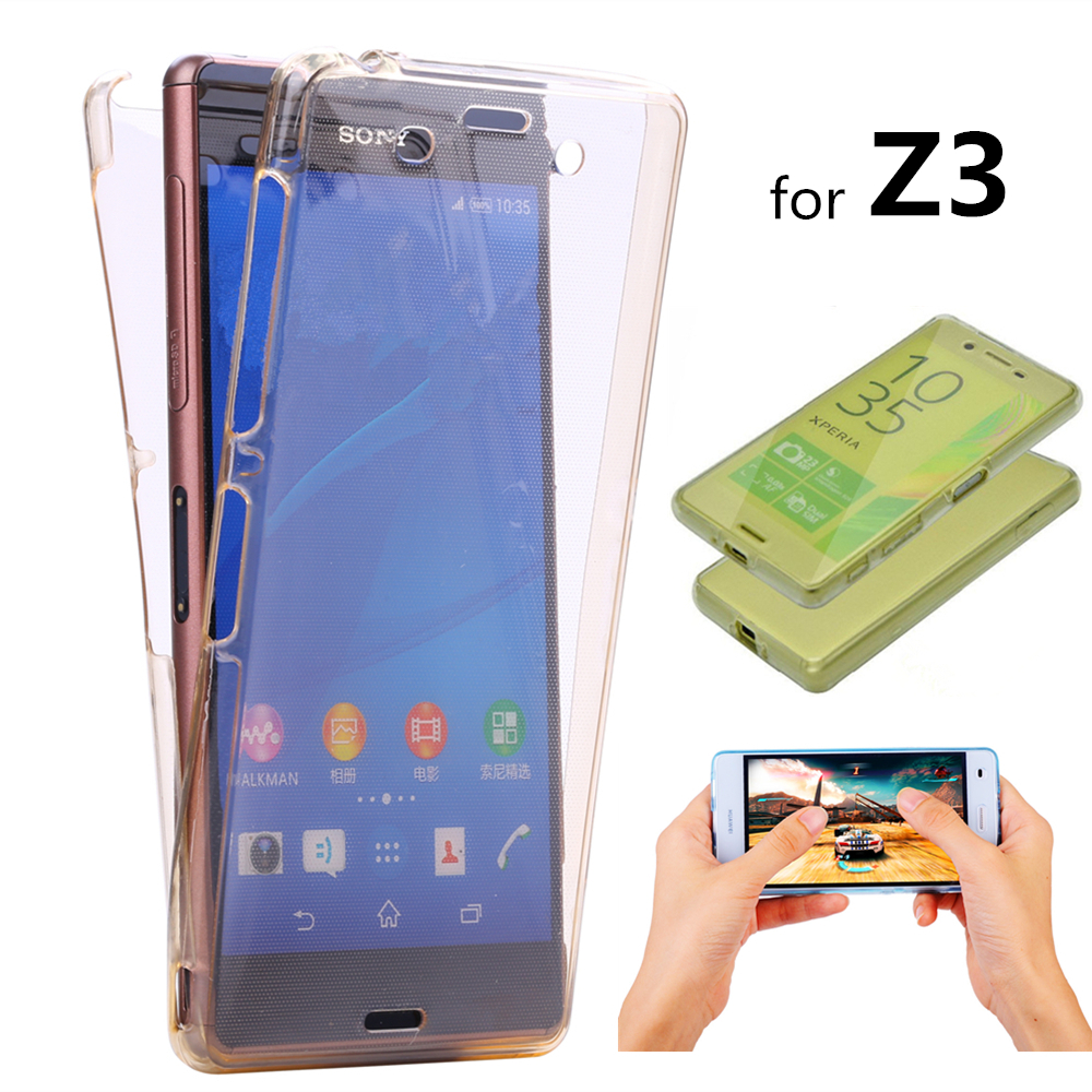 Z3 Crystal Touch Full body Transparent Case for Sony Xperia Z3 Cover Soft Silicone Phone bag Cases for Sony Z3 L55U L55T L55