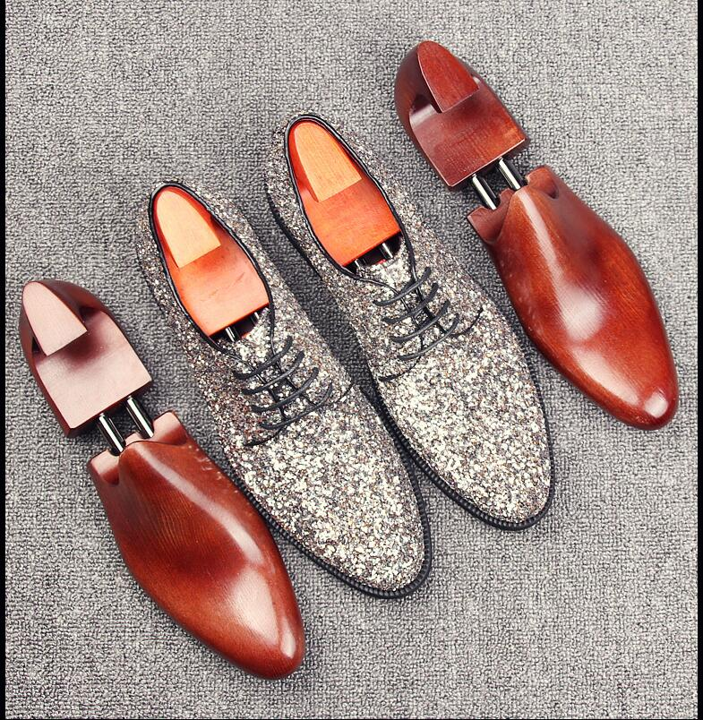 Dress shoes men lace up sequin sliver smart casual shoes pointed toes genuine leather flats summer loafers dark blue party shoes sequin embroidered zip up jacket