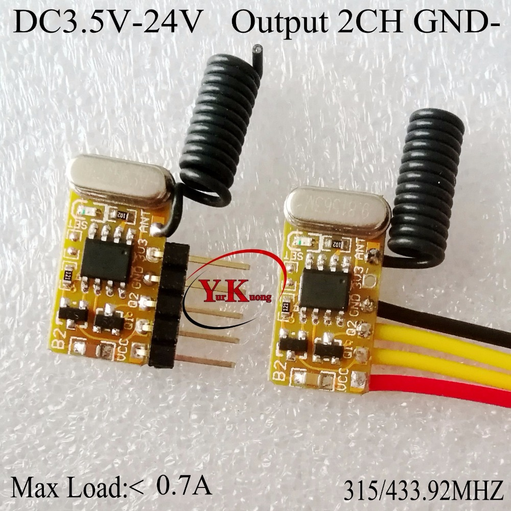 Decoding Receiver Module 2CH Mini Remote <font><b>Control</b></font> <font><b>Switch</b></font> 3.7v4.2v4.5v6v7.4v9v12v Output 2ch GND Low TTL 2CH onoff <font><b>at</b></font> thesame time image