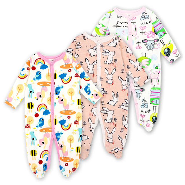 00e0064200b4 3pieces lot 100% Cotton Baby Romper Long Sleeves Baby Pajamas ...