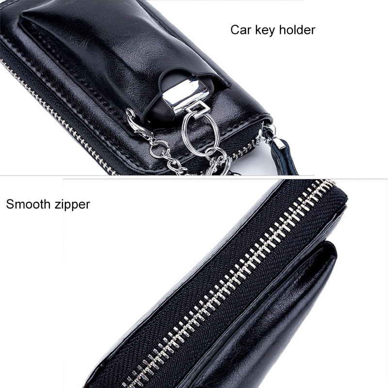 CICICUFF Genuine Leather Key Wallet Men's Cowhide Car Key Wallets Holder Pouch Bag Case Organizer Housekeeper Ring Cover Male