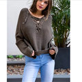 Fashion Sweater 2016 Women Casual Loose V-Neck Long Sleeve Knitted Pullover Sweater Hollow Out Solid Outerwear Pull Femme