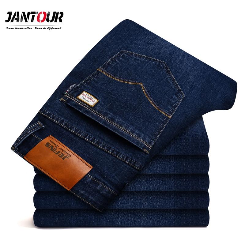 2018 new jantour Jeans Men Fashion Brand-Clothing Male blue Pants man quality Flannel Casual Trousers Jean big Size 40 42 44 46 jeans men high quality casual denim cotton biker jean regular pants big size long trousers slim fit brand clothing f8