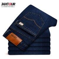 2018 New Jantour Jeans Men Fashion Brand Clothing Male Blue Pants Man Quality Flannel Casual Trousers