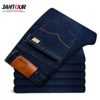 2018 New Jantour Jeans Men Fashion Brand Clothing Male Blue Pants Man Quality Flannel Casual Trousers