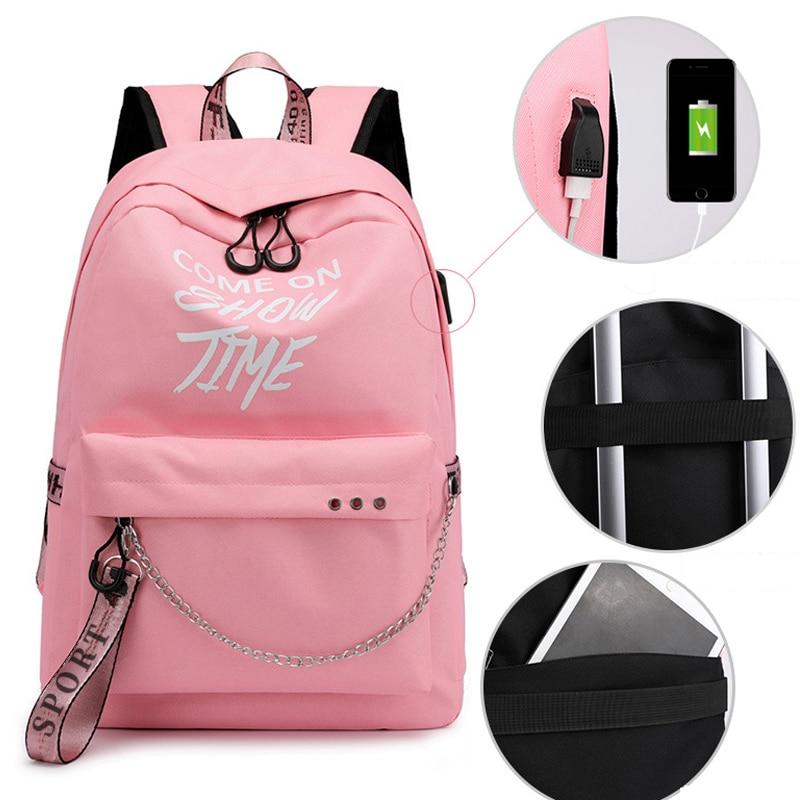 HTB1IWSvXsvrK1Rjy0Feq6ATmVXa7 Winmax Luminous USB Charge Women Backpack Fashion Letters Print School Bag Teenager Girls Ribbons Backpack Mochila Sac A Dos