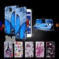 Cubierta de cuero funda capa coque para lenovo a328 bolsa callfree pu leather wallet case para lenovo a328 a328t-azul mariposa