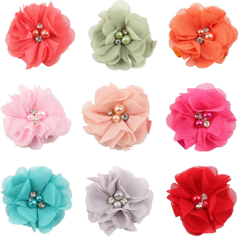 2.5 インチ真珠ダイヤモンドヘッドドレスフラワーヘアアクセサリー新生児ティーン女子供ファッション弾性ヘアクリップ Hairbow