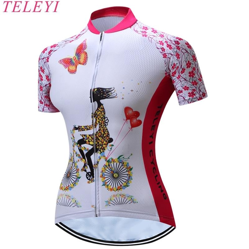 TELEYI Cycling Jersey Women Outdoor Fitness Trainning Gym Sportswear Mountain Bike Bicycle Clothing Anti-sweat Quick Dry