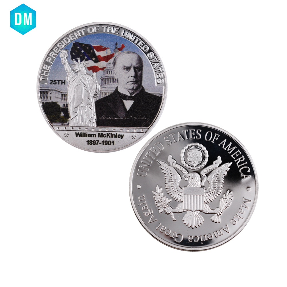 Birthday Souvenir Gifts American Silver Coin US 25th President Gift Coin Williarn Mckinley Commemorative Metal Coin