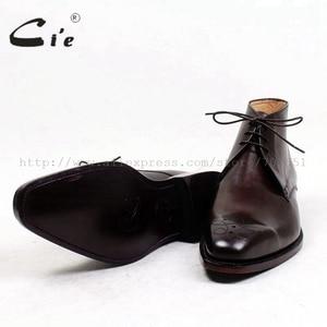 Image 5 - Cie kare ayak madalyon 100% hakiki buzağı deri çizme patina derin kahverengi el yapımı ısmarlama deri bağlama erkek bileğe kadar bot A99