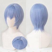 Eva ayanami rei curto luz azul resistente ao calor do cabelo cosplay traje peruca + faixa peruca boné