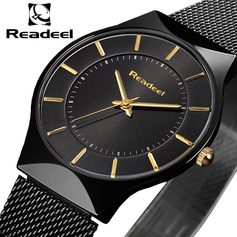 Readeel Top Fashion Classic Brand Watches Men Quartz Sport Watch Ultra Thin Stainless Steel Mesh Belt Watches Relogio Masculino цена