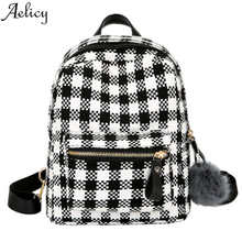 Aelicy Luxury Mini Women Travel Fashion Backpacks Lattice Backpack Vintage School Bags for Teenage Girls Bolsas Mochila Feminina(China)